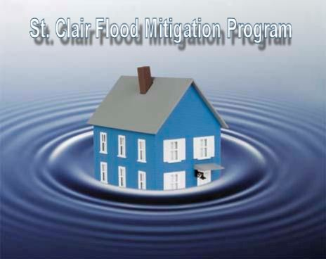 "Digital image of a house surrounded by water with the words ""St. Clair Flood Mitigation Program.&"