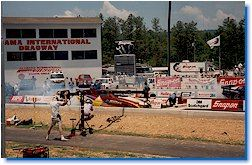View of a drag race at the Alabama International Dragway.