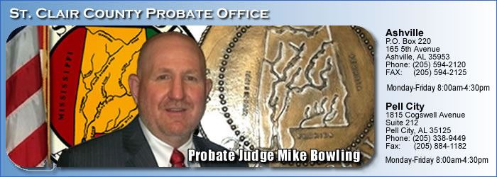 Probate Office Banner featuring Mike Bowling and contact information for the department.